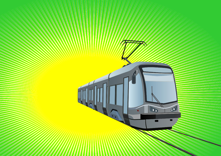 streetcar: Environmentally friendly urban transport mode. Modern streetcar on a green background. Illustration