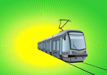 mode of transport: Modo de transporte urbano el medio ambiente. Tranv�a moderno sobre un fondo verde.