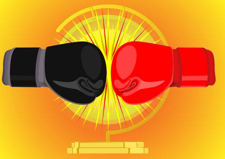 guantes boxeo: Guantes de boxeo en rojo y negro sobre el fondo de un gong