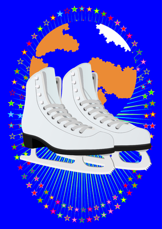 Winter sport. Womens skates for figure skating in the backdrop of the planet earth surrounded by colored stars Vector