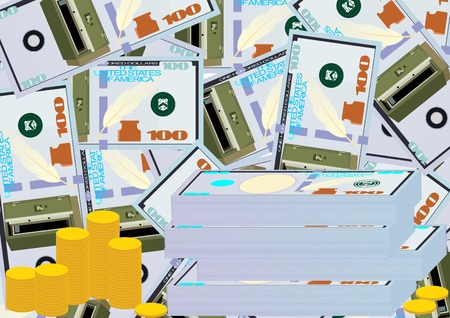 armored safes: Bundles of money and piles of coins on the background of the banknotes with images on them armored safe.