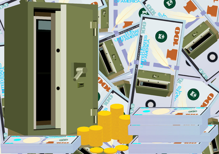 armored safes: Modern armored safe and money on a background of banknotes with the image of the safe Illustration