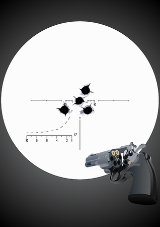Bullet holes in the background of a revolver with unfolded drum and sniper scope