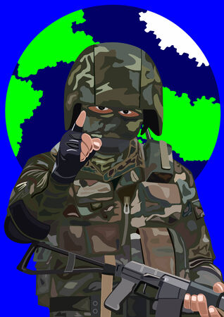 Armed special forces soldier in camouflage suits against the backdrop of the planet Earth Stock Vector - 8789691