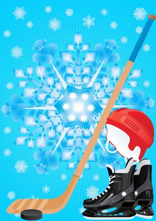 Winter Sports. The helmet, stick, puck-hockey equipment Stock Vector - 8789703
