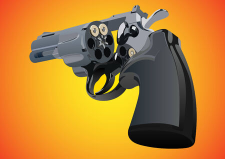 gun barrel: Revolver with unfolded drum and two rounds on a red-yellow background Illustration