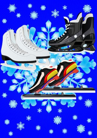 Winter Sports. Skates for different sports Vector
