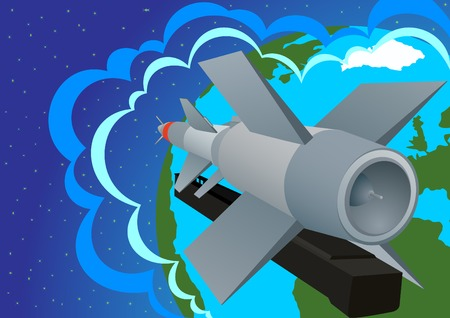 warhead: Rocket launcher-Defense Forces against the backdrop of the planet Earth