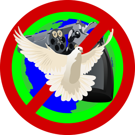 Flying white dove on a background of the prohibitory sign. Symbolizes a ban on the use of weapons Stock Vector - 8789696
