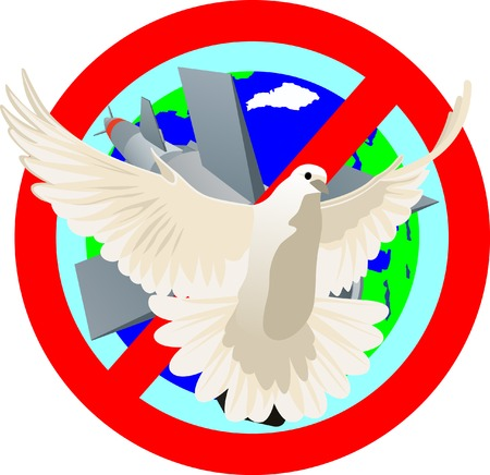 prohibitions: Flying white dove on a background of the prohibitory sign. Symbolizes peace on the planet. Illustration