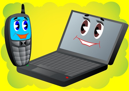 foldable: Animated characters. Cell phone and laptop on an abstract background