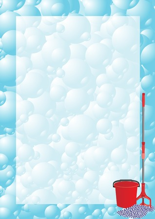 small tools: Abstract background from bubbles which shows the tools for cleaning Illustration
