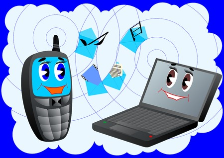 Abstract background which shows the cell phone and laptop sending and receiving files Vector