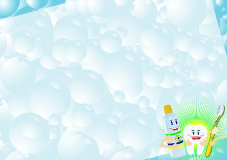 Abstract background from bubbles which shows the animated characters, toothpaste, toothbrush, tooth. Vector