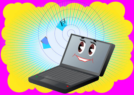 folding screens: Abstract background which shows the laptop sending and receiving files Illustration