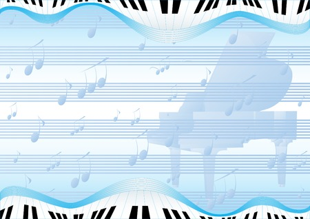 keyboard keys: Blue abstract background with a grand piano and musical signs
