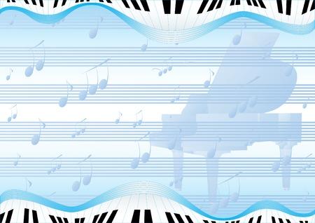 teclado de piano: Fondo abstracto azul con un piano y signos musicales Vectores