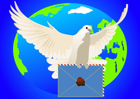 White dove with a sealed letter on the background of the Earth Vector