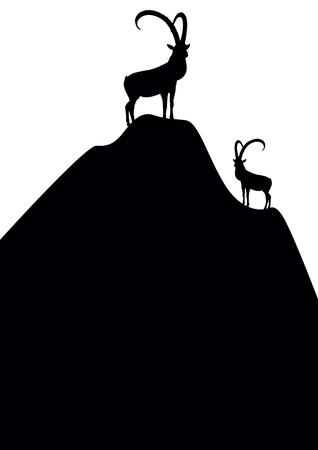Silhouettes de chèvres de montagne permanent sur le sommet de la montagne. Vecteurs