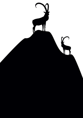 Silhouettes of mountain goats standing on top of the mountain.