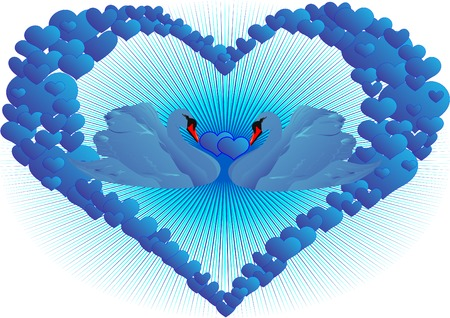 two hearts together: Two blue swan in abstract blue hearts
