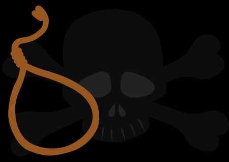 suffocation: A rope with a loop on the background of a skull and crossbones Illustration