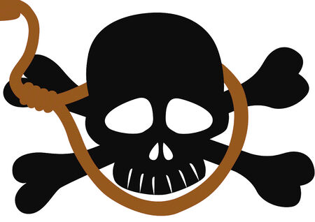 suffocation: Skull and Bones, an abstract image of death. Skull against a background of draped over the rope with a noose.