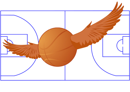 On the background of the basketball court basketball flies with wings Vector