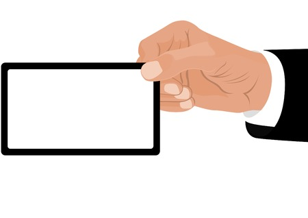 Hand man in business suit holding a card in which you can place your text. Vector