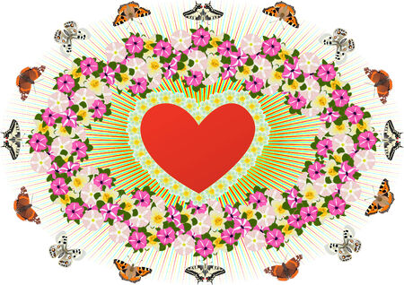 Abstract image of the heart surrounded by flowers and butterflies Stock Vector - 9102616