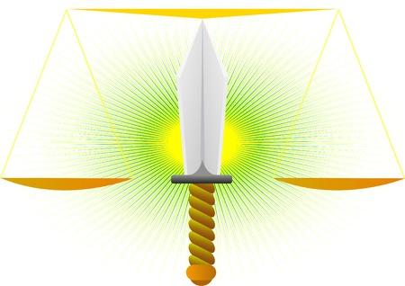 Imagen abstracta de la justicia. Espada, la punta de los cuales son las escalas Foto de archivo - 9102601