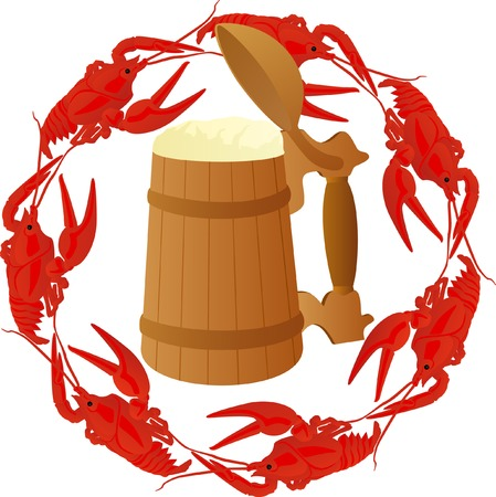 puhatestű: Wooden mug of beer surrounded by boiled crawfish
