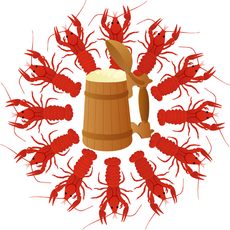 molluscs: Wooden mug of beer surrounded by boiled crawfish