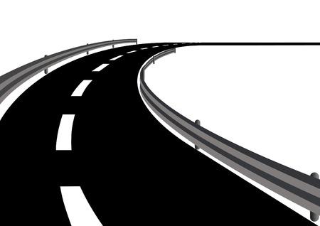 굽힘: Bend in the road and road markings. Along the way a metal fence