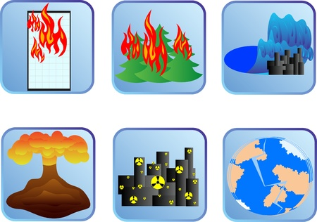 Badges with natural disasters Vector