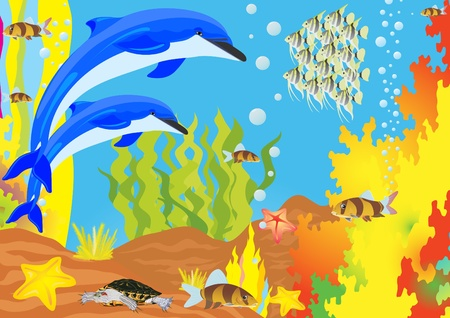The underwater life of the seas and oceans Vector