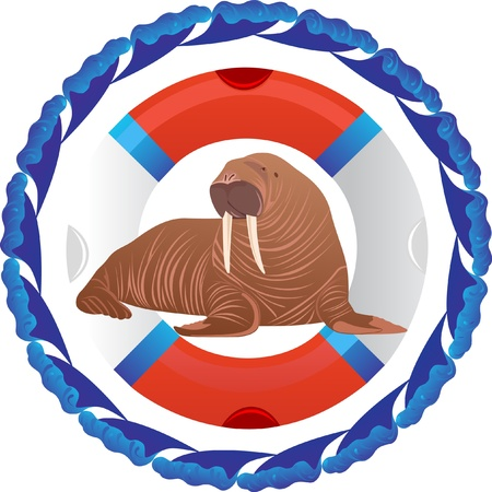 Walrus in a rescue in an environment of abstract waves Vector