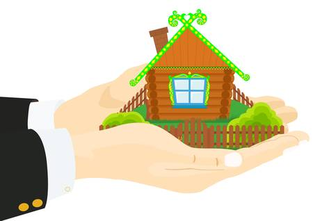 hand holding house: Persons hand holding a wooden house Illustration