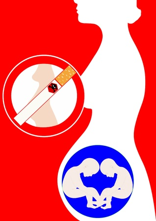woman smoking: The contour of the pregnant woman and her developing into a new life. Sign warning of the dangers of smoking during pregnancy.