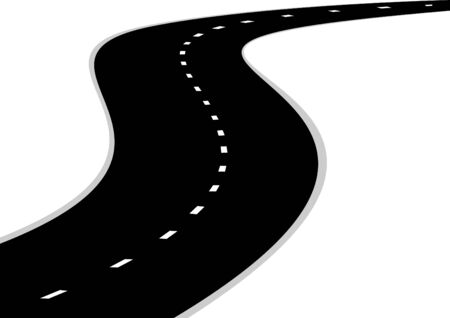 A winding road with road markings. The road stretches into the distance. Vector