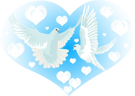 Flying doves on the background of an abstract image of the heart Vector