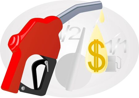 refueling: Refueling pistol and a drop of gasoline with dollar signs in the background of the fuel level sensor