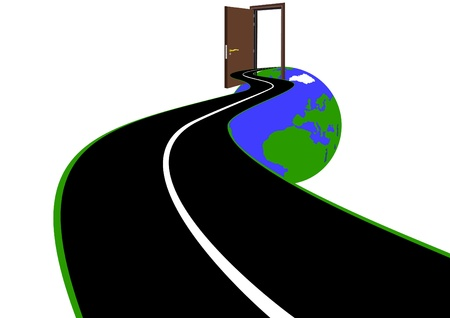 Road with a dividing strip appearing in the open door leading into the world Vector
