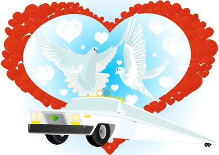 Wedding car on a background of abstract hearts and two white doves flying Vector