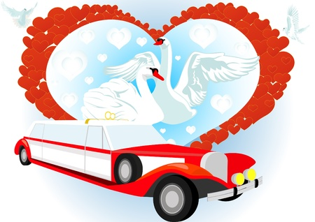 Wedding vintage car on an abstract background image of the heart and two white swans Vector