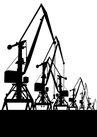 Large cranes at the port. Illustration in black and white background Stock Vector - 9317975