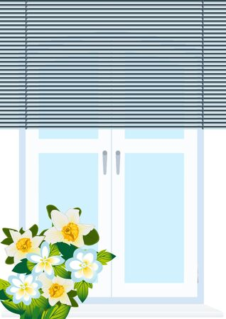A bouquet of flowers standing on the window sill windows closed shutters
