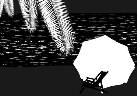 backrest: Sunbeds and sun umbrellas are at the beach. Black and white contrast image.