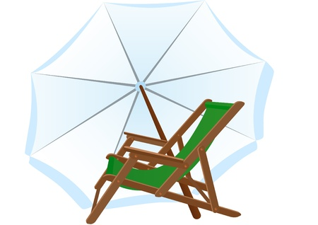 loungers: Sunbeds and parasol. Subjects to relax on the beach. Illustration