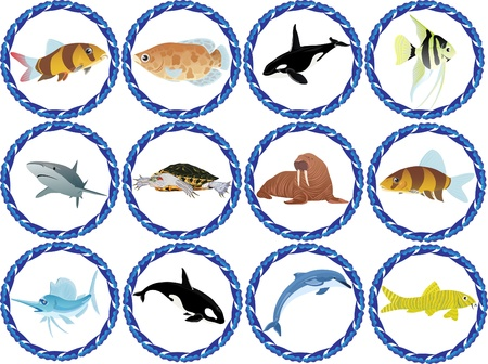 oceans: Badges with the inhabitants of the seas and oceans Illustration